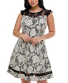 Petite Lace A-Line Illusion Dress
