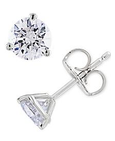 IGI Certified Diamond 1 ct. t.w. Stud Earrings in 14k White Gold