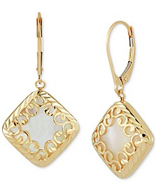 Mother-of-Pearl Square Filigree Drop Earrings in 14k Gold