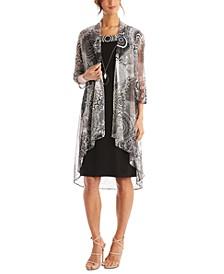 2-Pc. Printed Jacket & Necklace Dress Set