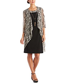 2-Pc. Printed Jacket & Necklace Dress Set
