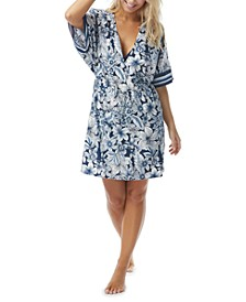 Luxe Floral-Print Swim Cover-Up Dress