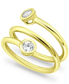 Cubic Zirconia Bezel Wrap Ring in 18k Gold-Plated Sterling Silver, Created for Macy's