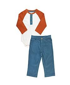 Baby Boys Long Sleeve Henley Bodysuit and Pant Set