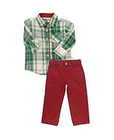 Baby Boys Long Sleeve Button Down Shirt and Pant Set