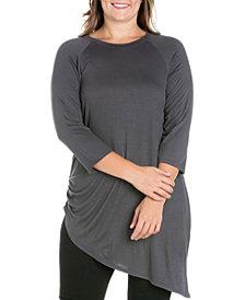 Women's Plus Size Asymmetrical Elbow Sleeves Tunic Top