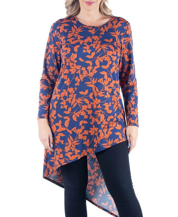 24seven Comfort Apparel Women's Plus Size Floral Print Asymmetric Tunic Top