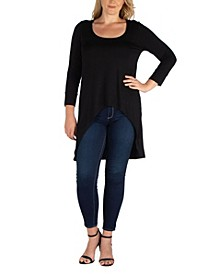 Women's Plus Size Long Sleeves Dolman Tunic Top
