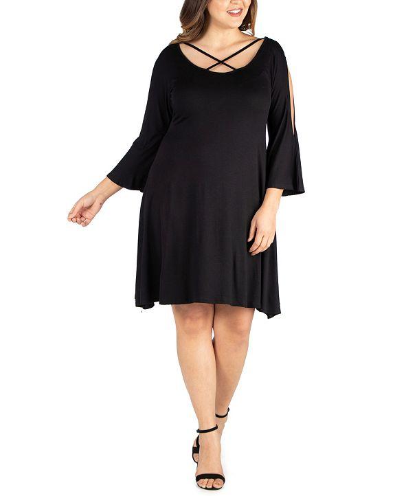 24seven Comfort Apparel Women's Plus Size Criss Cross Neckline Cold Shoulder Dress
