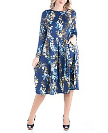 Women's Plus Size Fit and Flare Floral Print Midi Dress