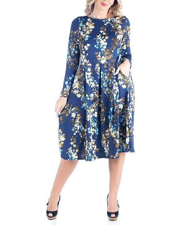 24seven Comfort Apparel Women's Plus Size Fit and Flare Floral Print Midi Dress