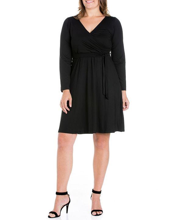 24seven Comfort Apparel Women's Plus Size Classic Belted Dress