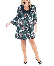 Women's Plus Size Feather Print Dress
