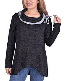 Petite Crossover Front Cowl Neck Sweater