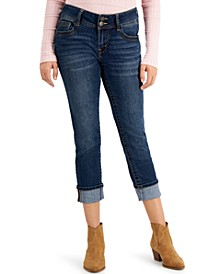 Juniors' Luscious Curvy-Fit Rolled-Cuff Cropped Jeans