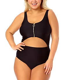 California Waves Trendy Plus Size One-Piece Zip-Front Swimsuit, Created for Macy's