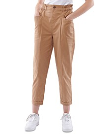 Juniors' Cotton Paperbag-Waist Pants