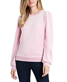 Velour Puffed-Shoulder Sweatshirt