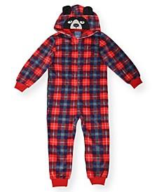 Toddler Boy's Plaid Minky Fleece Onesie and Novelty Bear Hood