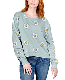 Juniors' Printed Daisy Sweatshirt