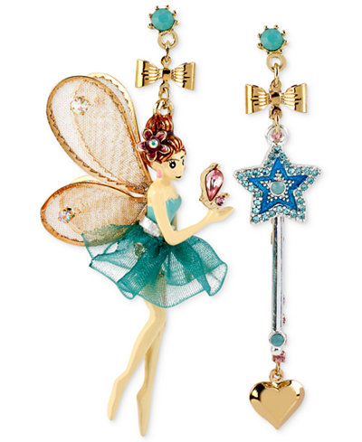 Betsey Johnson Antique Gold-Tone Fairy and Wand Mismatch Drop Earrings