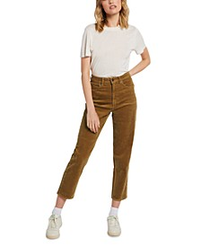 Juniors' Corduroy High-Rise Straight-Leg Ankle Jeans