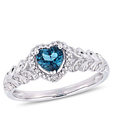 Amethyst and Diamond Halo Heart Ring