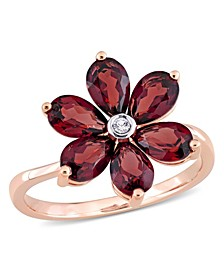Garnet and Diamond Accent Floral Ring