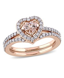 Morganite and Diamond Heart Halo interlocking Bridal Ring Set