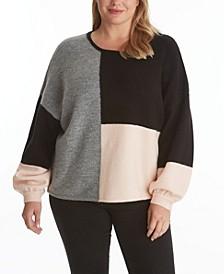 Women's Plus Size Color Block Sweater Top