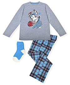 Big Boy's 2 Piece Snowman Pajama Set with Socks