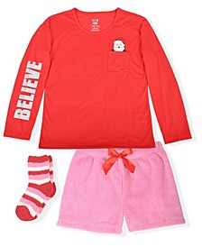 Big Girl's 2 Piece Short Pajama Santa Believe Set with Socks