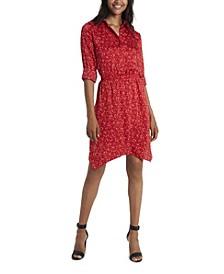 Women's Long Sleeve Asymmetrical Hem Polka Dot Shirt Dress