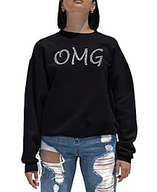 Women's Word Art Crewneck OMG Sweatshirt