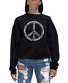 Women's Word Art Crewneck The Word Peace In 77 Languages Sweatshirt