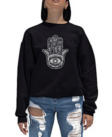 Women's Word Art Crewneck Hamsa Sweatshirt