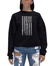 Women's Word Art Crewneck National Anthem Flag Sweatshirt