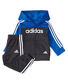 Baby Boys Zip Front Block Fleece Hoodie & Jogger Set