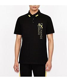 Vertical Logo and Stripe Polo Shirt