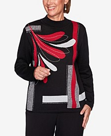 Women's Plus Size Knightsbridge Station Embellished Blocked Sweater
