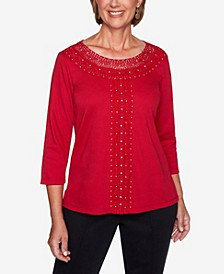 Women's Plus Size Knightsbridge Station Solid Center Crochet Knit Top