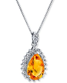 "Citrine (2-7/8 ct. t.w.) & Diamond (1/5 ct. t.w.) 18"" Pendant Necklace in Sterling Silver"