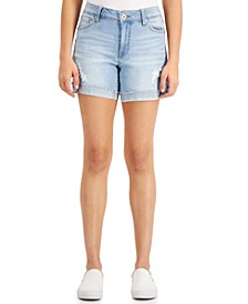 Juniors' Frayed-Hem Midi Jean Shorts