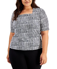 Plus Size Printed Square-Neck Top