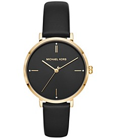 Women's Jayne Black Leather Strap Watch 38mm