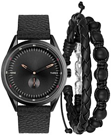 INC Men's Black Faux-Leather Strap Watch 44mm Gift Set, Created for Macy's