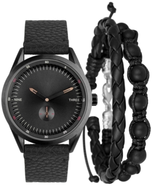 INC INTERNATIONAL CONCEPTS INC MEN'S BLACK FAUX-LEATHER STRAP WATCH 44MM GIFT SET, CREATED FOR MACY'S