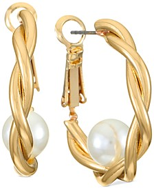 """Gold-Tone Small Imitation Pearl Twist Hoop Earrings, 1.05"""", Created for Macy's"""