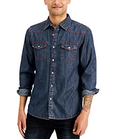 Men's Slim-Fit Western Denim Shirt