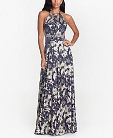 Metallic Floral Halter Gown